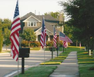 flags in front of houses